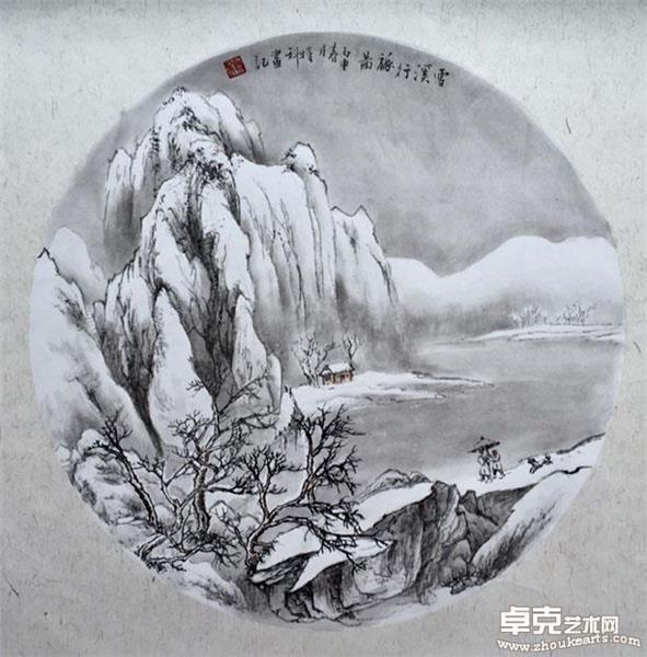 雪溪行旅图